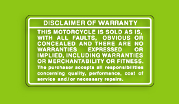 Kawasaki KX125 Warranty Disclaimer