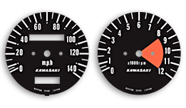 Kawasaki A1 & A7 gauge faces
